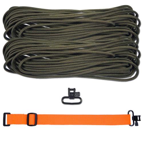 "DIY 43"" 550 Paracord Strap - Olive Drab w/ Orange Webbing"