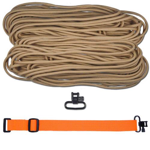 "DIY 43"" 550 Paracord Strap - Tan w/ Orange Webbing"