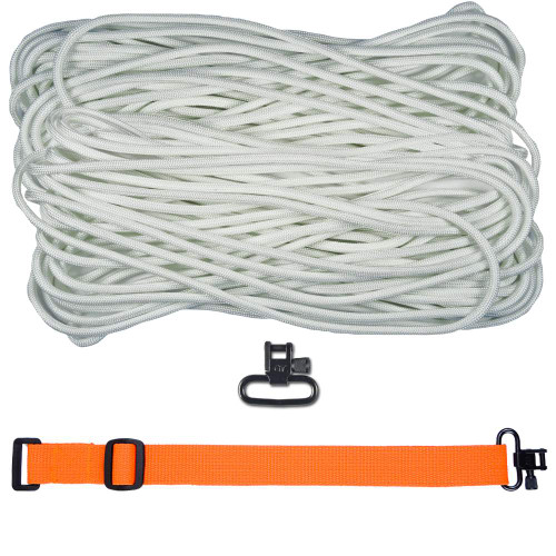 "DIY 43"" 550 Paracord Strap - White w/ Orange Webbing"