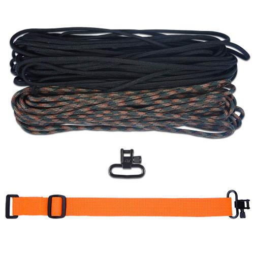 """DIY 43"""" 550 Paracord Strap - Black & Woodland Camo w/ Orange Webbing"""