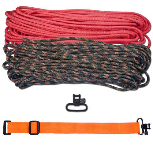 """DIY 43"""" 550 Paracord Strap - Pink & Woodland Camo w/ Orange Webbing"""