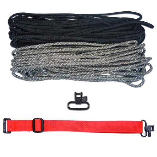 """DIY 43"""" 550 Paracord Strap - Black & ACU Digital Camo w/ Red Webbing"""