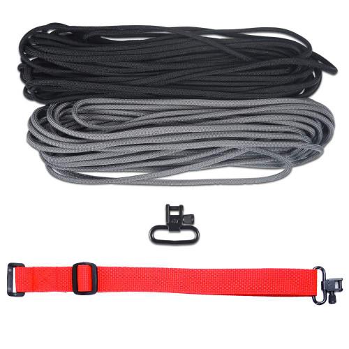 "DIY 43"" 550 Paracord Strap - Black & Charcoal gray w/ Red Webbing"