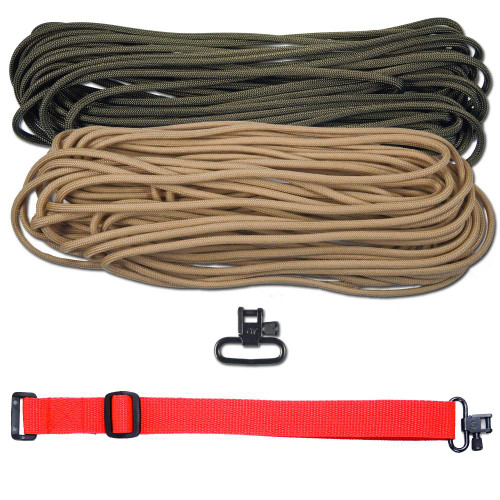 "DIY 43"" 550 Paracord Strap - Olive Drab & Tan w/ Red Webbing"