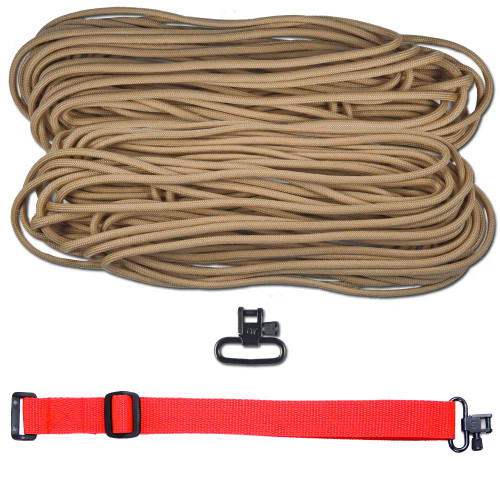 "DIY 43"" 550 Paracord Strap - Tan w/ Red Webbing"