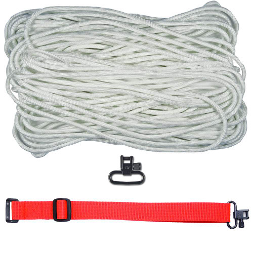 """DIY 43"""" 550 Paracord Strap - White w/ Red Webbing"""