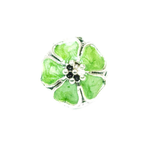 Hibiscus Flower Alloy European Bead - Green