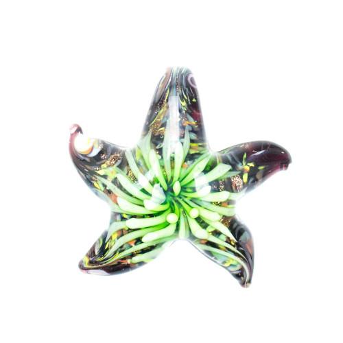 Glass Starfish Pendant - Kelp
