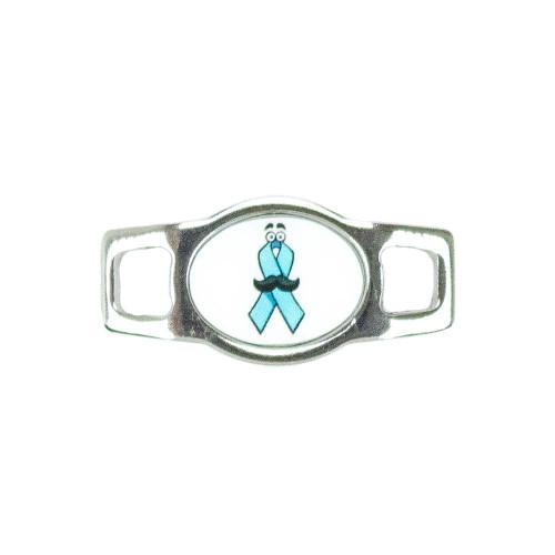 Awareness Oval Charm - Mustache Blue Ribbon