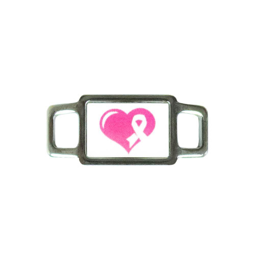 Awareness Rectangle Charm - Pink Heart