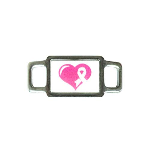 Awareness Rectangle Charm - Pink Heart