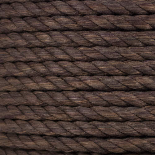 3-Strand Twisted Cotton 1/2 in Rope - Brown