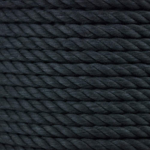 3-Strand Twisted Cotton 1/2 in Rope - Black