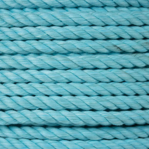 3-Strand Twisted Cotton 1/2 in Rope - Aqua