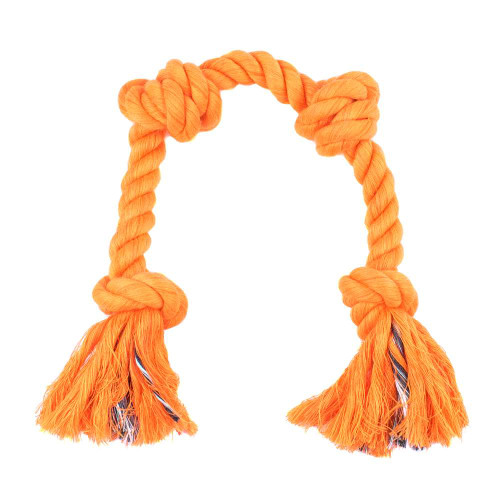 Large Knotted Rope Tug Toy - Neon Orange