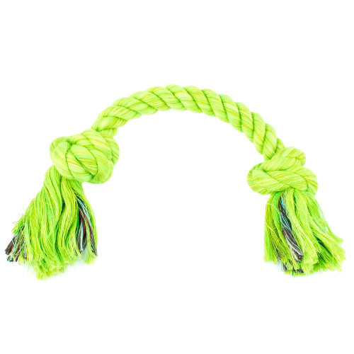 Small Knotted Rope Tug Toy - Lime Green