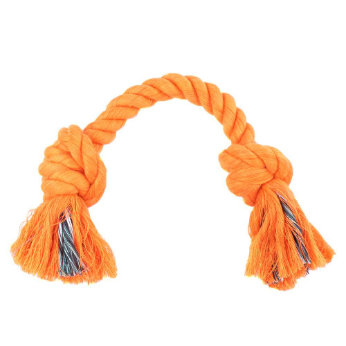 Small Knotted Rope Tug Toy - Neon Orange