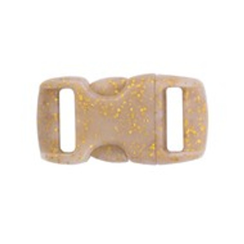 Contoured Side Release Buckle 3/8 in Gold Glitter