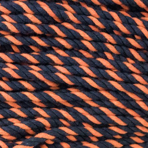 3-Strand Twisted Cotton 1/4 inch Rope - Black/Orange