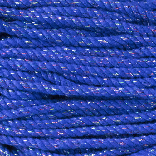 3-Strand Twisted Cotton 1/4 inch Rope - Blue Sparkle