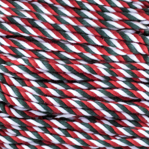 3-Strand Twisted Cotton 1/4 inch Rope - Holly Jolly