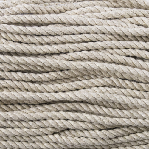 3-Strand Twisted Cotton 1/4 inch Rope - Tan