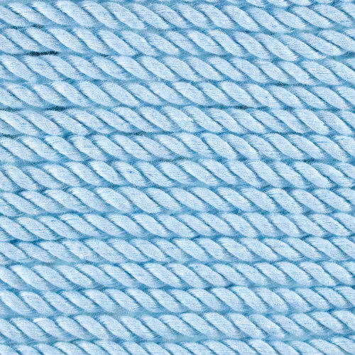 3-Strand Twisted Cotton 1/4 inch Rope - Sky Blue