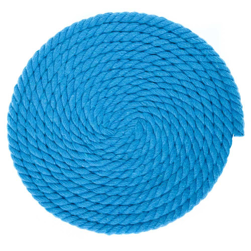 1/4 Inch Twisted Cotton Rope - Cyan