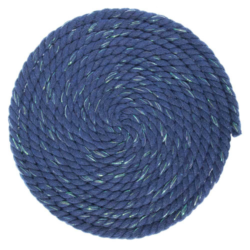 1/4 Inch Twisted Cotton Rope - Navy Glitter