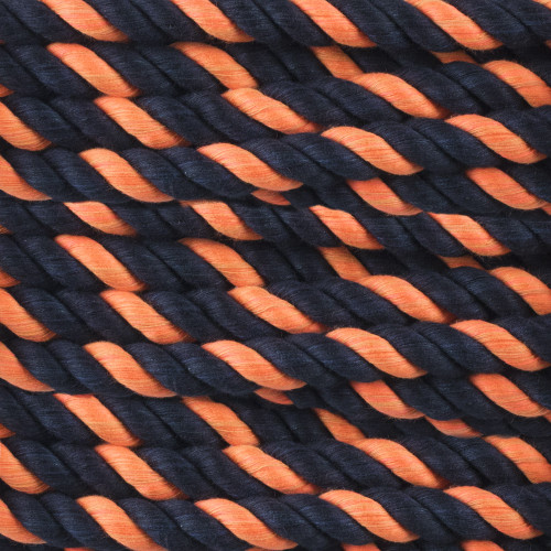 3-Strand Twisted Cotton 1/2 in Rope - Black and Orange