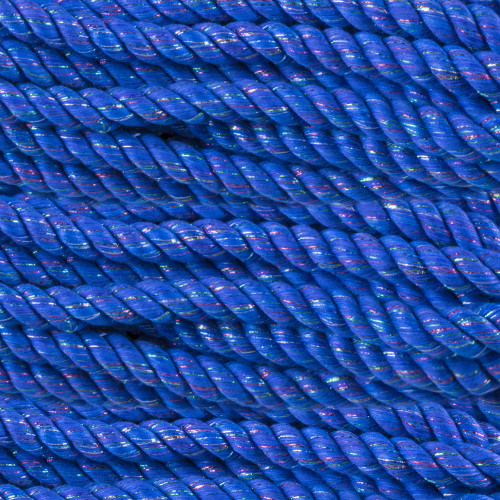 3-Strand Twisted Cotton 1/2 in Rope - Blue Sparkle