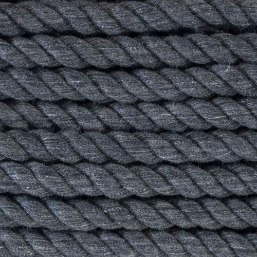3-Strand Twisted Cotton 1/2 in Rope - Dark Gray