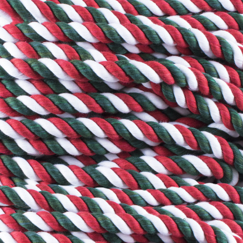 3-Strand Twisted Cotton 1/2 in Rope - Holly Jolly