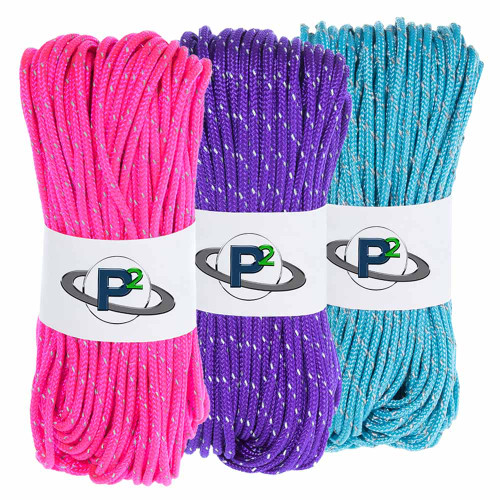 3 Pack 95 Reflective Cord - 20M each - Acid Purple Neon Pink Neon Turquoise