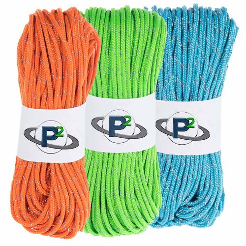 3 Pack 95 Reflective Cord - 20M each - Neon Green Neon Orange Neon Turquoise