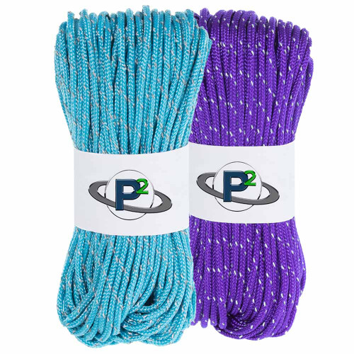 2 Pack 95 Reflective Cord - 20M each - Acid Purple and Neon Turquoise