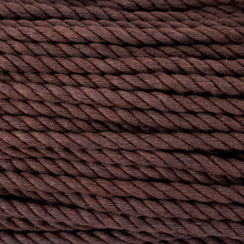 3-Strand Twisted Cotton 1/4in Rope - Brown