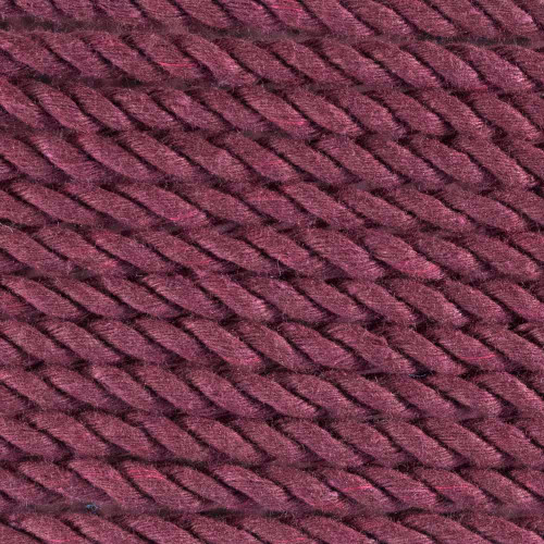 3-Strand Twisted Cotton 1/4in Rope - Burgundy