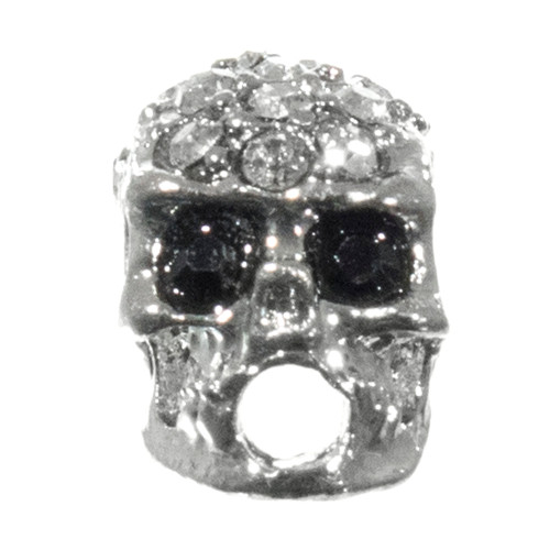 Glam Silver Skull Bead with Black Eyes