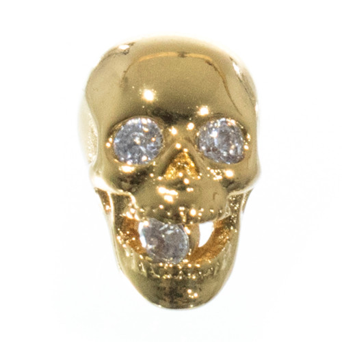 Jaw Dropper Skull with Rhinestones - Gold