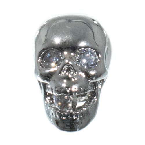 Jaw Dropper Skull with Rhinestones - Silver