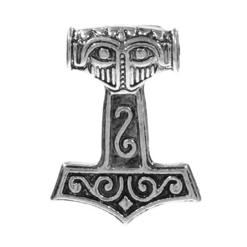 Double Sided Thor Hammer Pendant - Silver