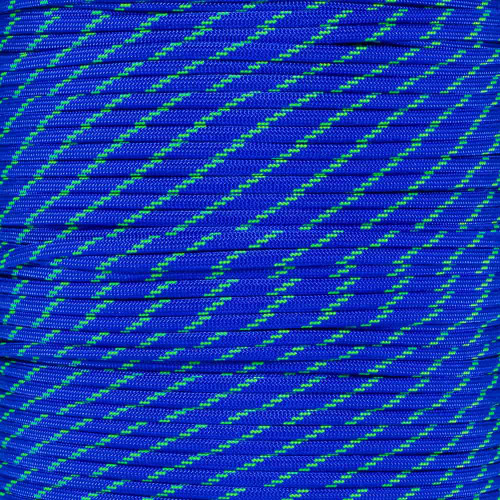 Electric Blue with Neon Green Tracers 550 Paracord (7-Strand) - Spools