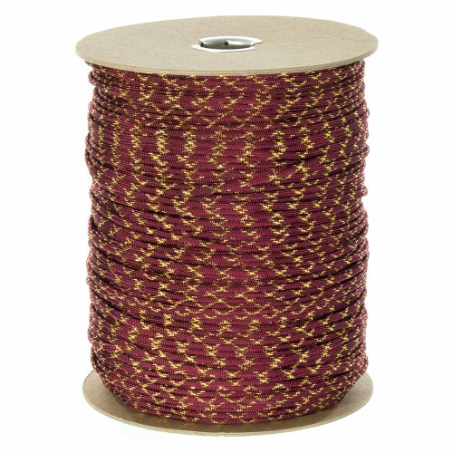 Burgundy with Gold Metallic X  550 Paracord (7-Strand) - Spools