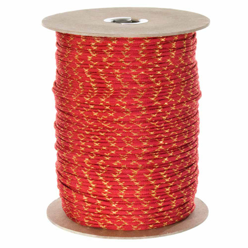 Imperial Red with Gold Metallic X  550 Paracord (7-Strand) - Spools