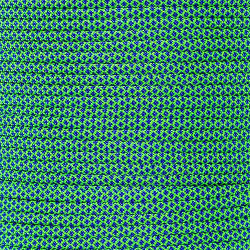 Neon Green w/ Electric Blue Diamonds - 550 Paracord