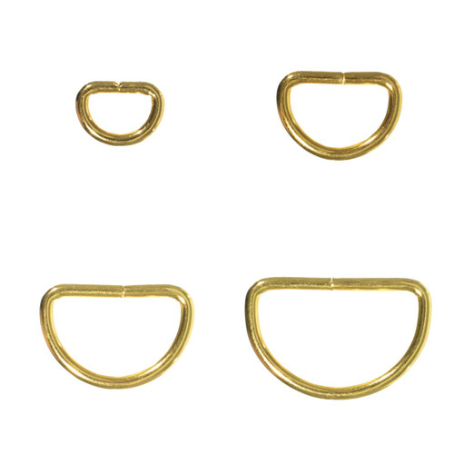 Gold Metal D Rings - Multiple Sizes