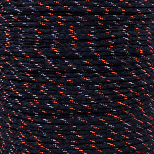Black w/ 2 Orange Tracers 550 Paracord (7-Strand) - Spools