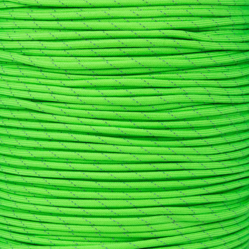 Neon Green 550 Paracord with Reflective Tracers