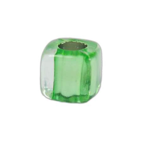 Acrylic Square Clear Beads - Green